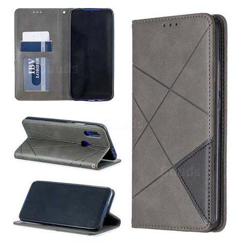 Prismatic Slim Magnetic Sucking Stitching Wallet Flip Cover for Mi Xiaomi Redmi 7 - Gray