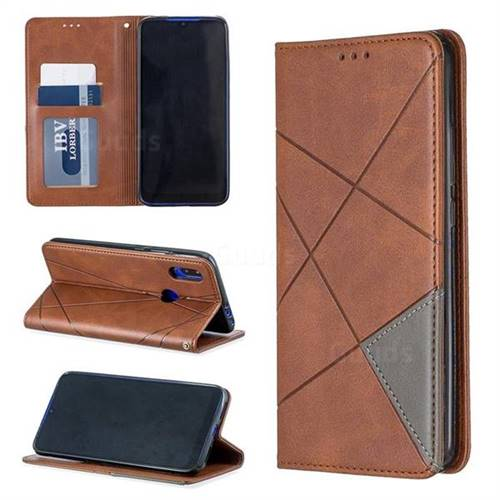 Prismatic Slim Magnetic Sucking Stitching Wallet Flip Cover for Mi Xiaomi Redmi 7 - Brown