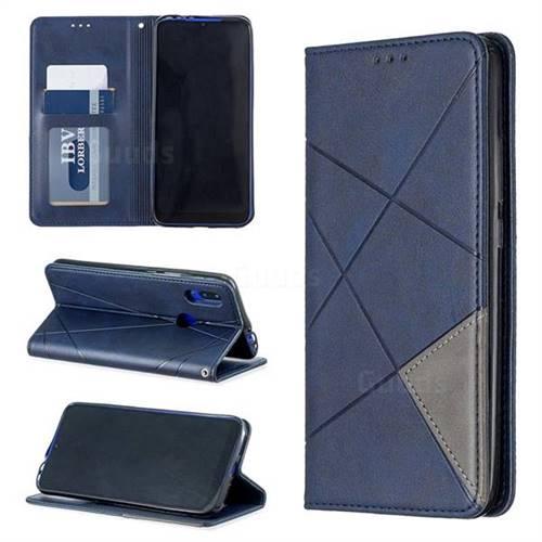 Prismatic Slim Magnetic Sucking Stitching Wallet Flip Cover for Mi Xiaomi Redmi 7 - Blue