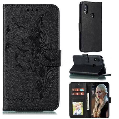 Intricate Embossing Lychee Feather Bird Leather Wallet Case for Mi Xiaomi Redmi 7 - Black