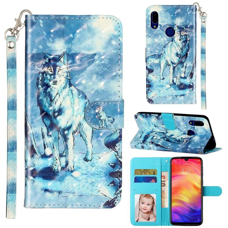 Snow Wolf 3D Leather Phone Holster Wallet Case for Mi Xiaomi Redmi 7
