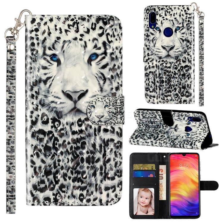 White Leopard 3D Leather Phone Holster Wallet Case for Mi Xiaomi Redmi 7
