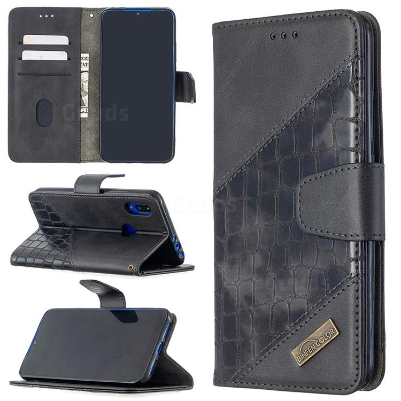 BinfenColor BF04 Color Block Stitching Crocodile Leather Case Cover for Mi Xiaomi Redmi 7 - Black