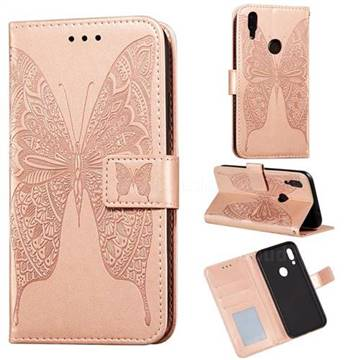 Intricate Embossing Vivid Butterfly Leather Wallet Case for Mi Xiaomi Redmi 7 - Rose Gold