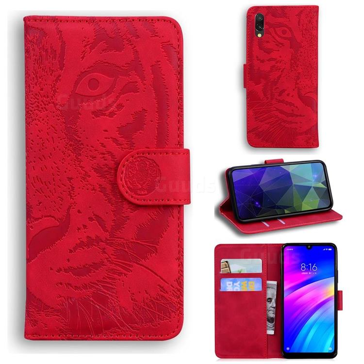 Intricate Embossing Tiger Face Leather Wallet Case for Mi Xiaomi Redmi 7 - Red