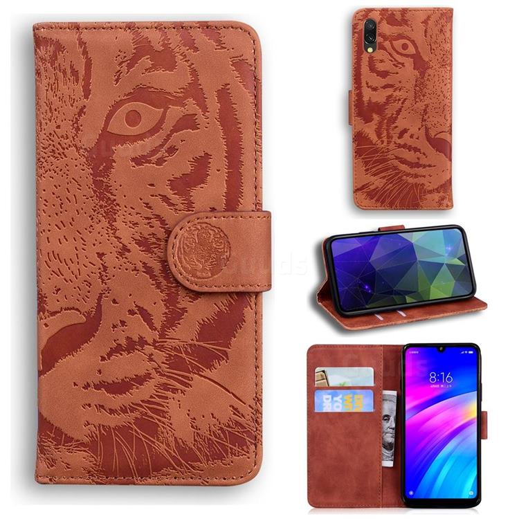 Intricate Embossing Tiger Face Leather Wallet Case for Mi Xiaomi Redmi 7 - Brown