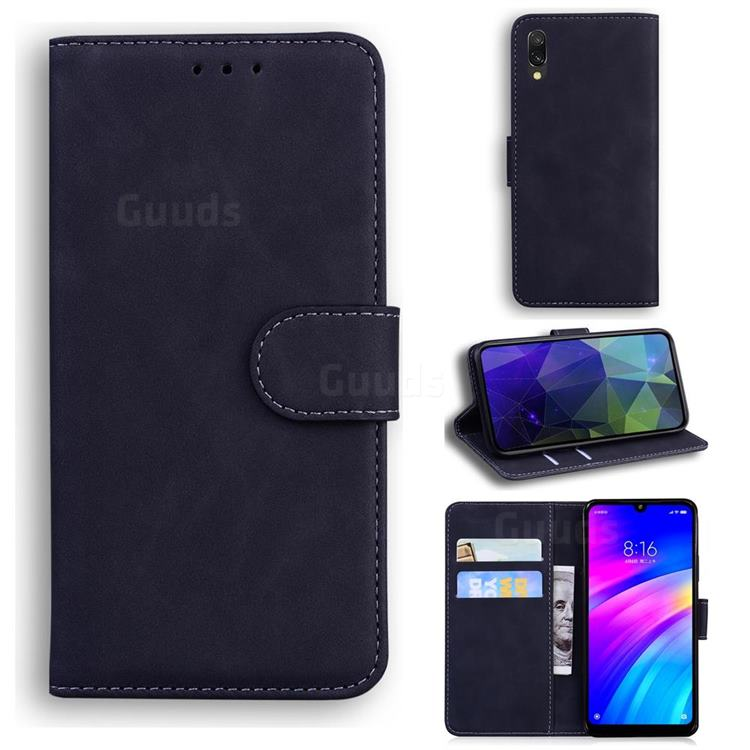 Retro Classic Skin Feel Leather Wallet Phone Case for Mi Xiaomi Redmi 7 - Black