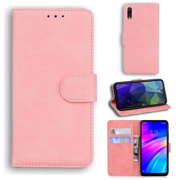 Retro Classic Skin Feel Leather Wallet Phone Case for Mi Xiaomi Redmi 7 - Pink