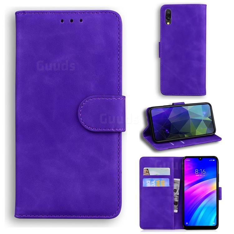 Retro Classic Skin Feel Leather Wallet Phone Case for Mi Xiaomi Redmi 7 - Purple