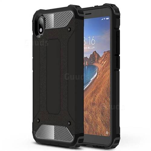 King Kong Armor Premium Shockproof Dual Layer Rugged Hard Cover for Mi Xiaomi Redmi 7A - Black Gold