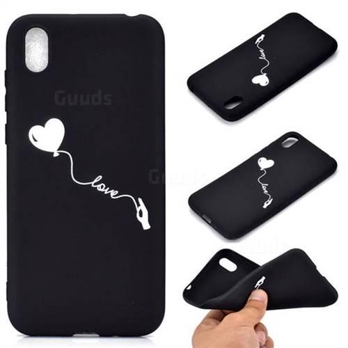 Heart Balloon Chalk Drawing Matte Black TPU Phone Cover for Mi Xiaomi Redmi 7A
