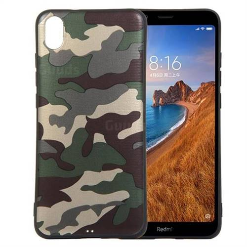 Camouflage Soft TPU Back Cover for Mi Xiaomi Redmi 7A - Gold Green