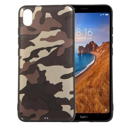 Camouflage Soft TPU Back Cover for Mi Xiaomi Redmi 7A - Gold Coffee