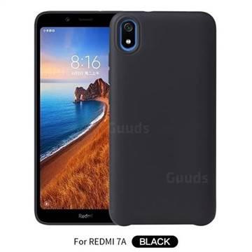 Howmak Slim Liquid Silicone Rubber Shockproof Phone Case Cover for Mi Xiaomi Redmi 7A - Black