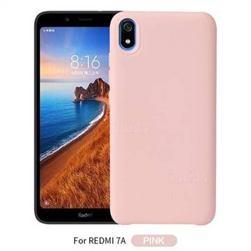 Howmak Slim Liquid Silicone Rubber Shockproof Phone Case Cover for Mi Xiaomi Redmi 7A - Pink
