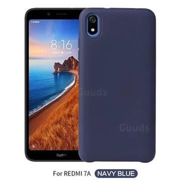Howmak Slim Liquid Silicone Rubber Shockproof Phone Case Cover for Mi Xiaomi Redmi 7A - Midnight Blue
