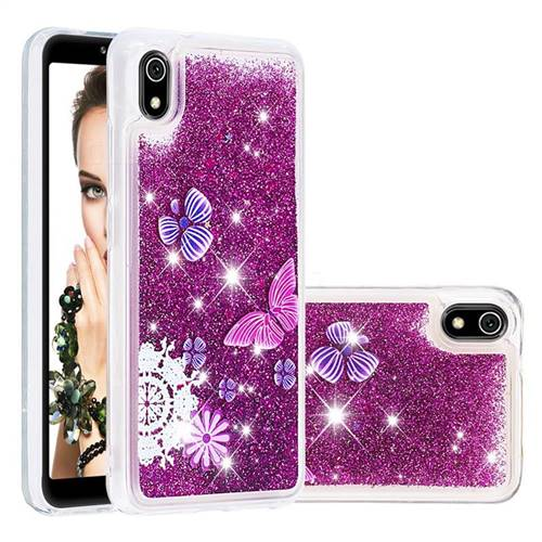 Purple Flower Butterfly Dynamic Liquid Glitter Quicksand Soft TPU Case for Mi Xiaomi Redmi 7A