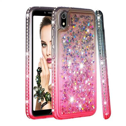 Diamond Frame Liquid Glitter Quicksand Sequins Phone Case for Mi Xiaomi Redmi 7A - Gray Pink