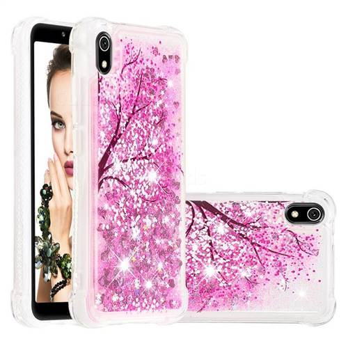 Pink Cherry Blossom Dynamic Liquid Glitter Sand Quicksand Star TPU Case for Mi Xiaomi Redmi 7A