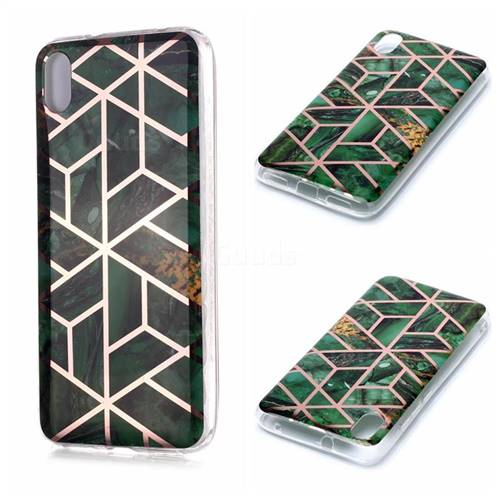 Green Rhombus Galvanized Rose Gold Marble Phone Back Cover for Mi Xiaomi Redmi 7A