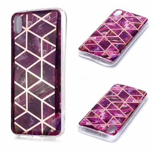 Purple Rhombus Galvanized Rose Gold Marble Phone Back Cover for Mi Xiaomi Redmi 7A