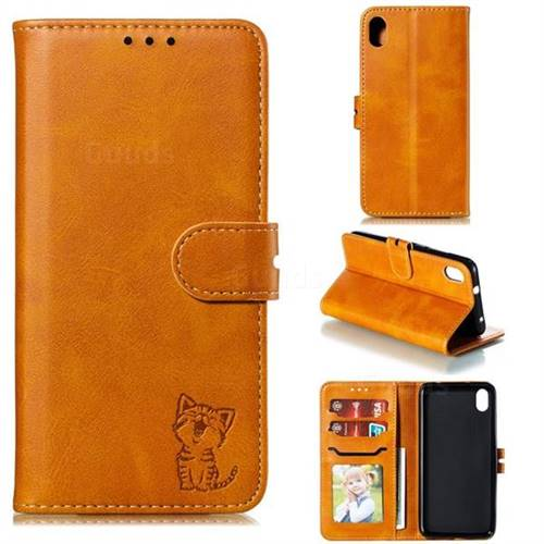 Embossing Happy Cat Leather Wallet Case for Mi Xiaomi Redmi 7A - Yellow