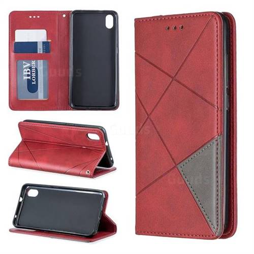 Prismatic Slim Magnetic Sucking Stitching Wallet Flip Cover for Mi Xiaomi Redmi 7A - Red