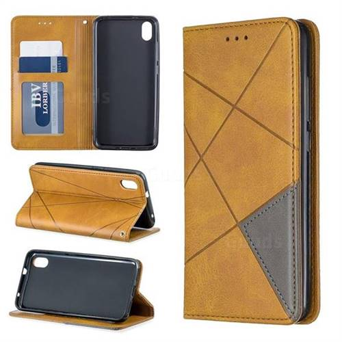 Prismatic Slim Magnetic Sucking Stitching Wallet Flip Cover for Mi Xiaomi Redmi 7A - Yellow