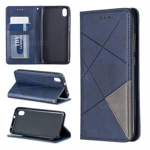 Prismatic Slim Magnetic Sucking Stitching Wallet Flip Cover for Mi Xiaomi Redmi 7A - Blue