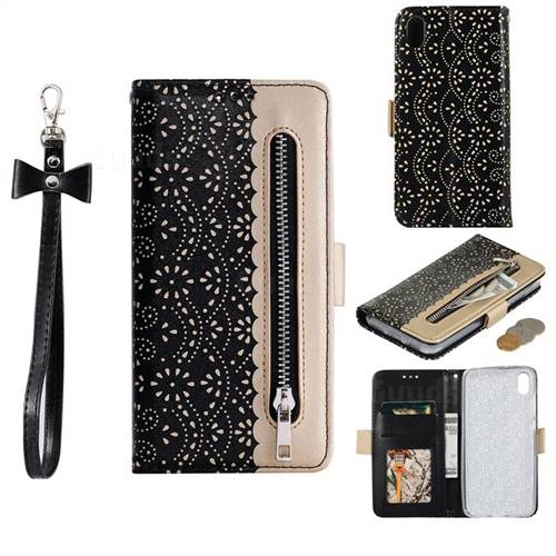 Luxury Lace Zipper Stitching Leather Phone Wallet Case for Mi Xiaomi Redmi 7A - Black