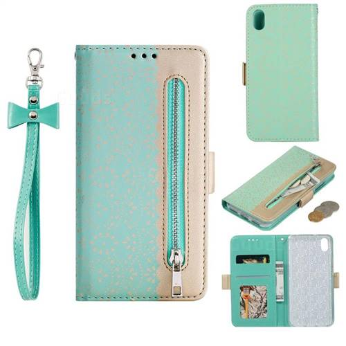 Luxury Lace Zipper Stitching Leather Phone Wallet Case for Mi Xiaomi Redmi 7A - Green