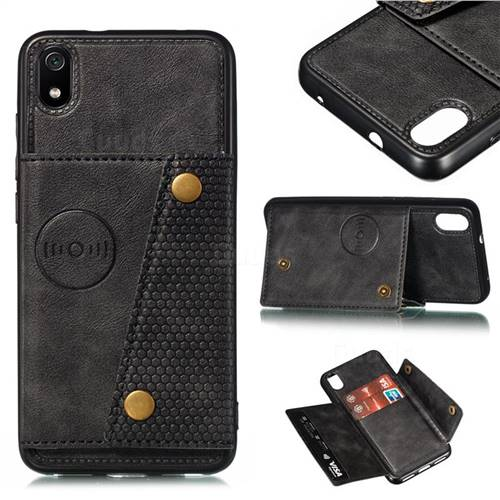 Retro Multifunction Card Slots Stand Leather Coated Phone Back Cover for Mi Xiaomi Redmi 7A - Black