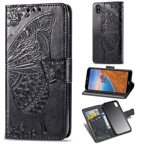 Embossing Mandala Flower Butterfly Leather Wallet Case for Mi Xiaomi Redmi 7A - Black