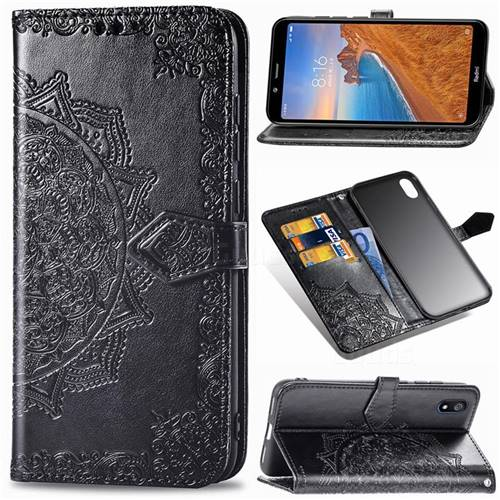 Embossing Imprint Mandala Flower Leather Wallet Case for Mi Xiaomi Redmi 7A - Black