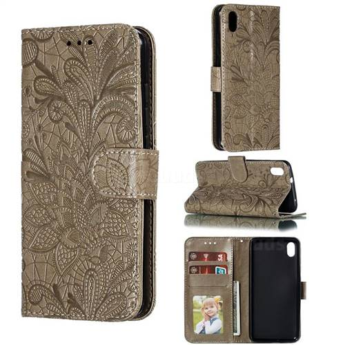 Intricate Embossing Lace Jasmine Flower Leather Wallet Case for Mi Xiaomi Redmi 7A - Gray