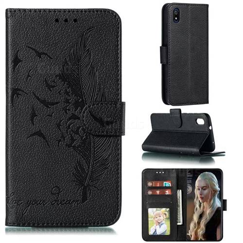 Intricate Embossing Lychee Feather Bird Leather Wallet Case for Mi Xiaomi Redmi 7A - Black