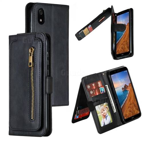 Multifunction 9 Cards Leather Zipper Wallet Phone Case for Mi Xiaomi Redmi 7A - Black