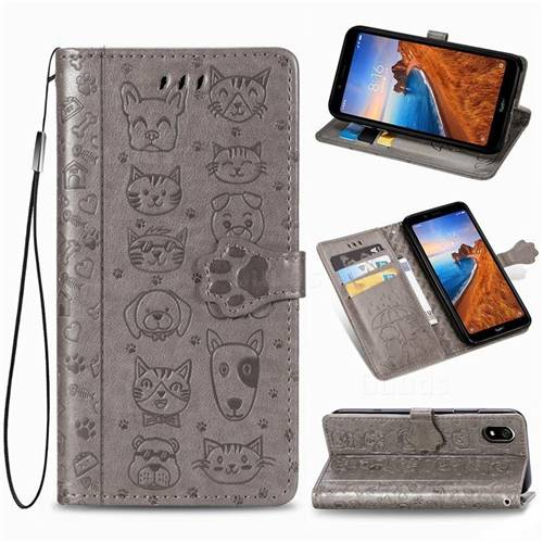 Embossing Dog Paw Kitten and Puppy Leather Wallet Case for Mi Xiaomi Redmi 7A - Gray