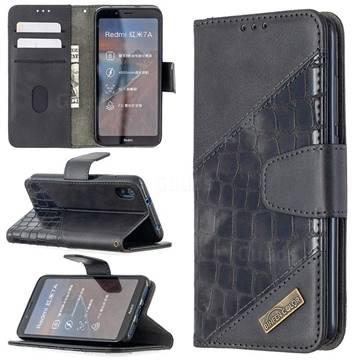 BinfenColor BF04 Color Block Stitching Crocodile Leather Case Cover for Mi Xiaomi Redmi 7A - Black