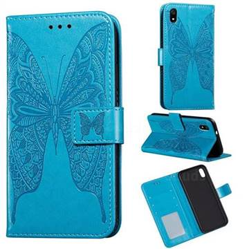 Intricate Embossing Vivid Butterfly Leather Wallet Case for Mi Xiaomi Redmi 7A - Blue