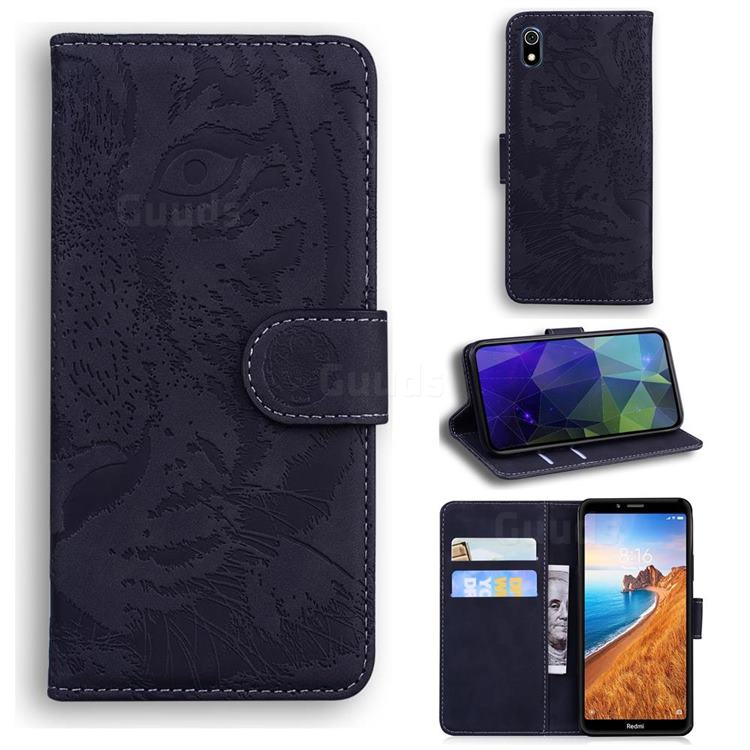 Intricate Embossing Tiger Face Leather Wallet Case for Mi Xiaomi Redmi 7A - Black