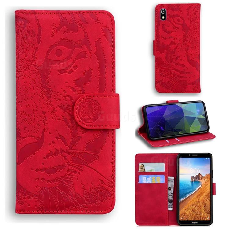 Intricate Embossing Tiger Face Leather Wallet Case for Mi Xiaomi Redmi 7A - Red