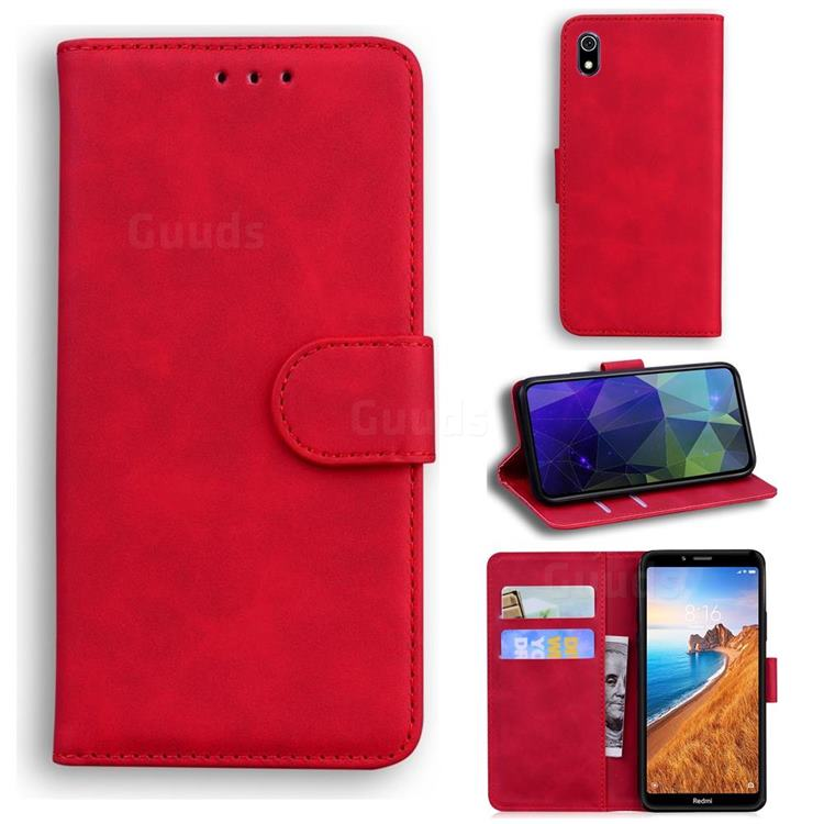 Retro Classic Skin Feel Leather Wallet Phone Case for Mi Xiaomi Redmi 7A - Red