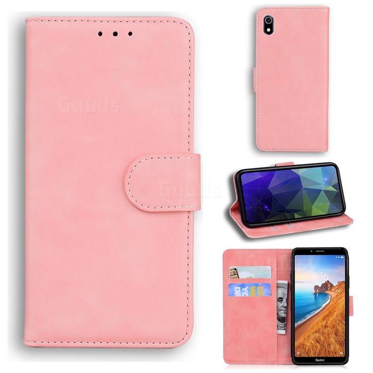 Retro Classic Skin Feel Leather Wallet Phone Case for Mi Xiaomi Redmi 7A - Pink