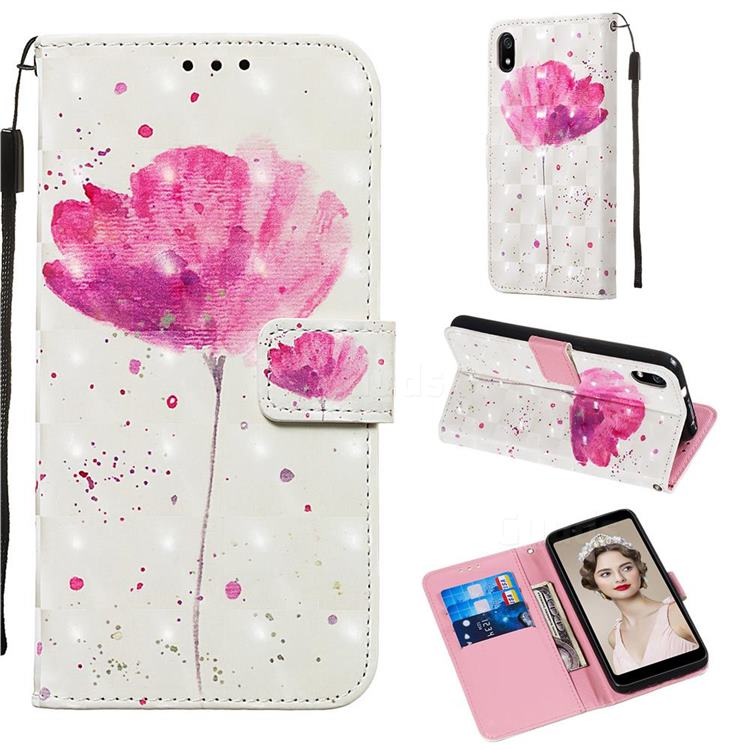 Watercolor 3D Painted Leather Wallet Case for Mi Xiaomi Redmi 7A