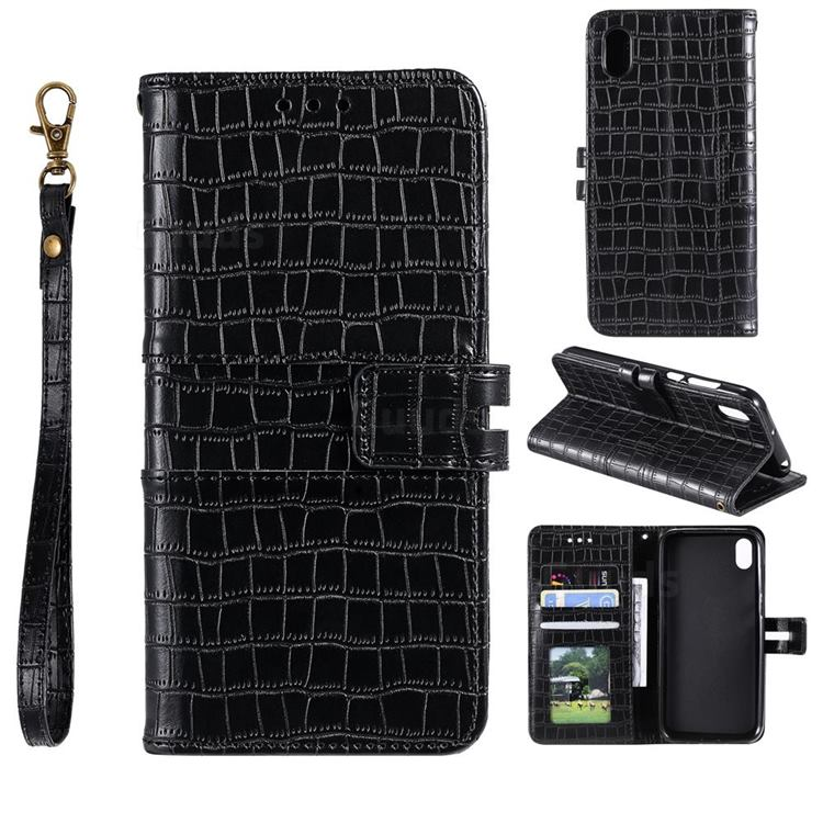 Luxury Crocodile Magnetic Leather Wallet Phone Case for Mi Xiaomi Redmi 7A - Black