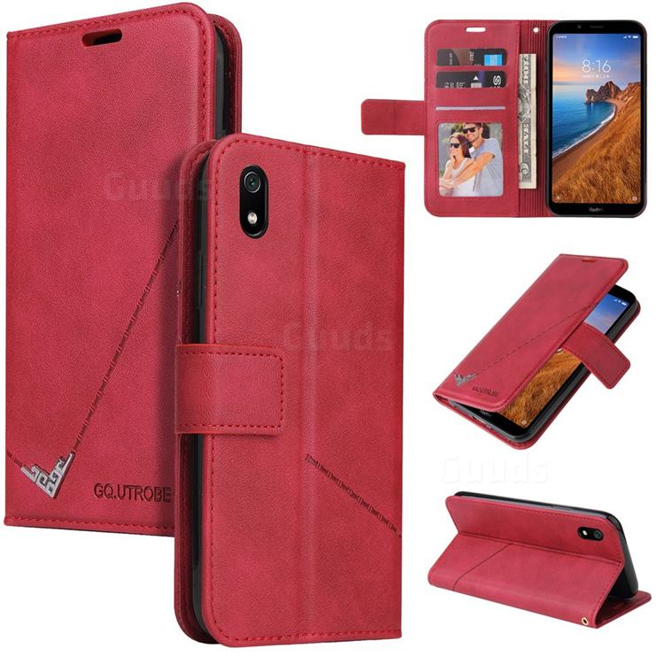 GQ.UTROBE Right Angle Silver Pendant Leather Wallet Phone Case for Mi Xiaomi Redmi 7A - Red