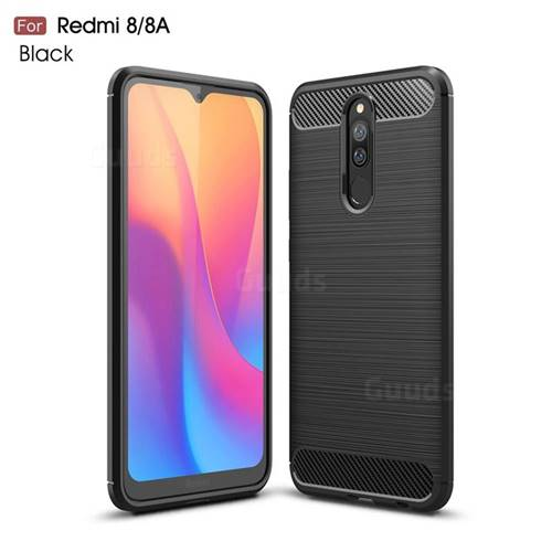 Luxury Carbon Fiber Brushed Wire Drawing Silicone TPU Back Cover for Mi Xiaomi Redmi 8 - Black