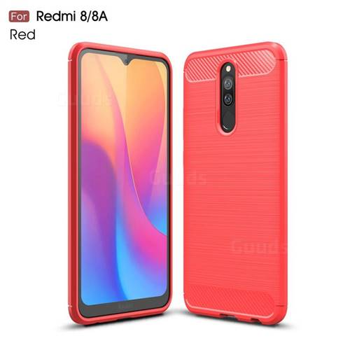 Luxury Carbon Fiber Brushed Wire Drawing Silicone TPU Back Cover for Mi Xiaomi Redmi 8 - Red