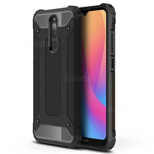 King Kong Armor Premium Shockproof Dual Layer Rugged Hard Cover for Mi Xiaomi Redmi 8 - Black Gold